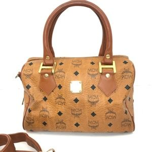 MCM Monogram Heritage Leather 2 Way Boston Bag